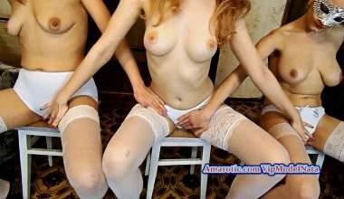 Three girls in white panties