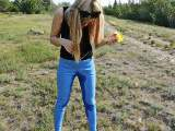 Stinging Erika. Piss in jeans outdoors