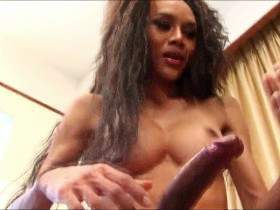 MESSY LOOKING TGIRL HOTTIE LOVES FUCKINGHER VEGGIES