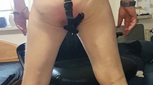 Leder Slip mit Dildo im Arsch gewichst und abgespritzt