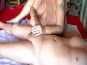 Jen whipped Johns cock and balls