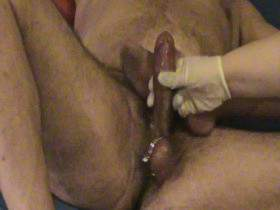 Cock is milked hard