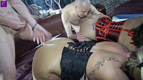 Cuckold had to lick our inseminated asses and assholes clean! Part 1