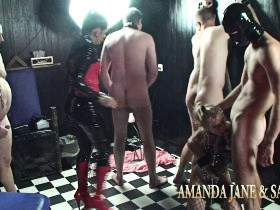 Lady AJ plays with the maid Sandy and 5 slaves - Part 2 of 3
