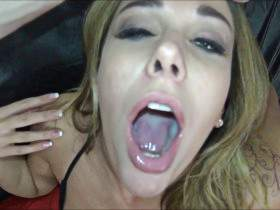 Horny blonde fucked without a condom and sprayed in her face and she swallows good. hammer