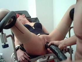 Dildo fucking gyn chair
