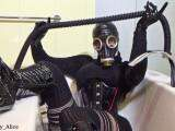 In Bathtub with Gas Mask and Boots! - With gas mask and boots in the bath